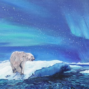 Polar Bears under the Aurora Borealis