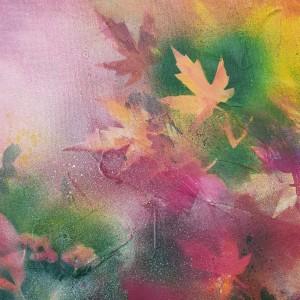 Autumn Abstract - Acrylic on Canvas - Maple Leaves