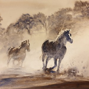 Horses Running through the Mist - Acrylic on Watercolour Paper