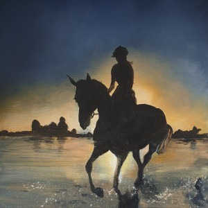 Horse and Rider Silhouette at Sunset - Acrylic on Canvas